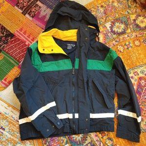 90s vintage Nautica navy blue yellow Rain jacket
